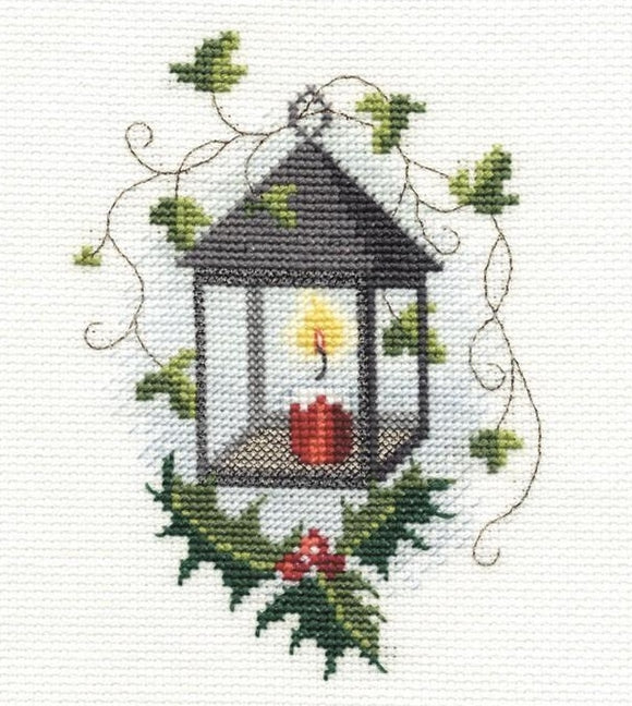 Lantern Cross Stitch Christmas Card Kit, Derwentwater Designs