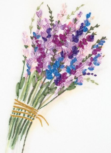 Lavender Bunch Embroidery Kit, Ribbon Embroidery Panna JK-2132