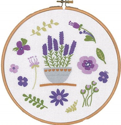 Lavender Embroidery Kit with Hoop, Vervaco pn-0170752