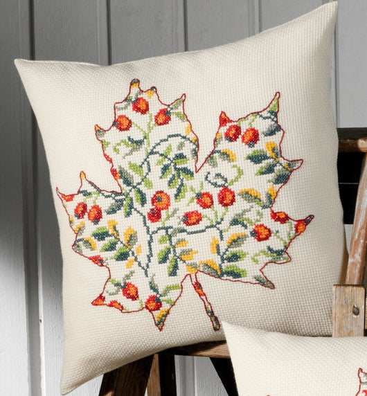 Leaf with Rose Hips Cross Stitch Kit Cushion Permin 83-8794