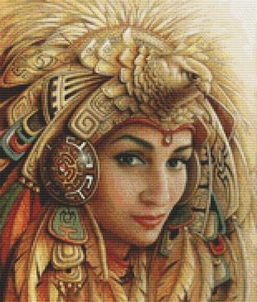 Cross Stitch Kit Aztec Warrior, Modern Counted Cross Stitch -Leon Alegria