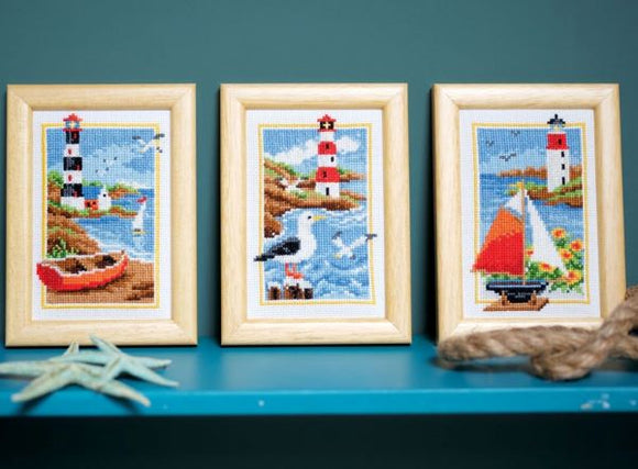 Lighthouse Cross Stitch Kits - SET of 3, Vervaco PN-0158159