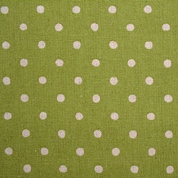 Linen Cotton Mix Fabric, Japanese Linen Dots, Natural on Lime - per HALF meter