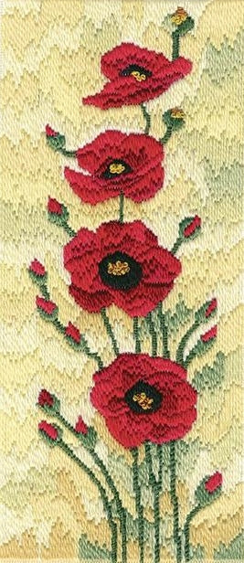 Long Stitch Kit, Field Poppies Derwentwater Long Stitch LSFP