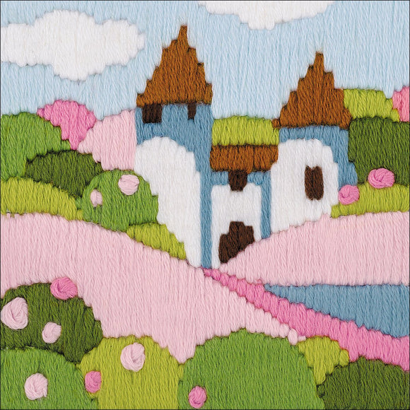 Long Stitch Kit, Pink Garden Landscape Long Stitch R1572