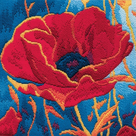 Poppy Head Long Stitch Kit, Derwentwater Designs