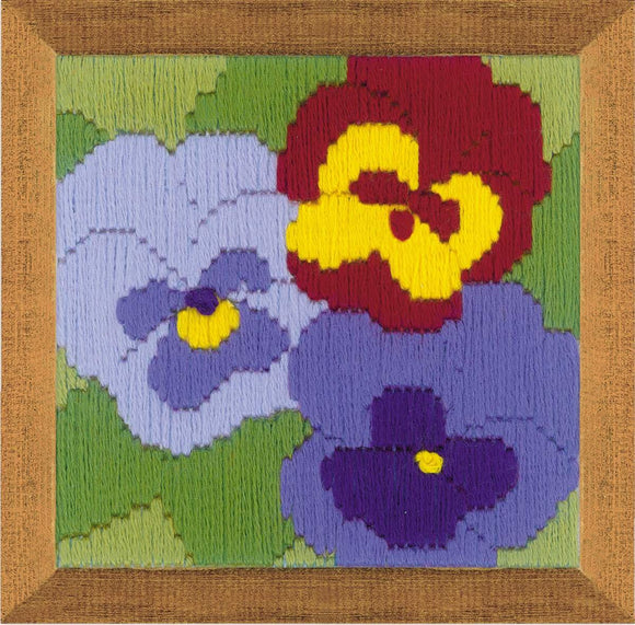 Long Stitch Kit, Three Pansies Long Stitch R1633