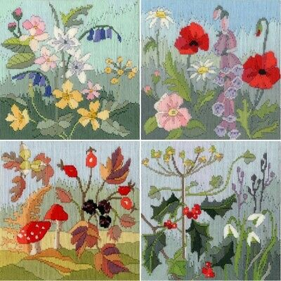 Long Stitch Kits, Seasonal Flowers Long Stitch Kits - SET of 4