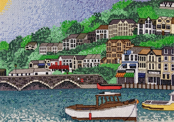 Looe Harbour, Cornwall Cross Stitch Kit, Emma Louise Art Stitch