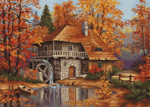 Petit Point Kit Autumn Landscape, COUNTED Half Cross Stitch Kit Luca-s G481