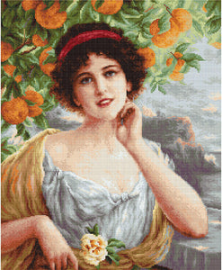Beauty Under the Orange Tree, Cross Stitch Kit Luca-s B546