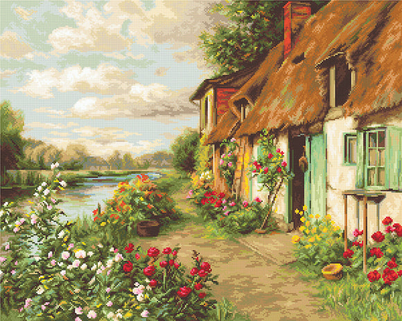 Cross Stitch Kit Cottage Landscape, Counted Cross Stitch Luca-s B571