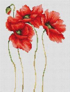 Cross Stitch Kit Four Poppies, Counted Cross Stitch Kit Luca-s B2224