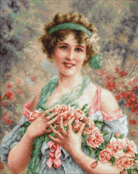 Cross Stitch Kit Girl with Roses, Counted Cross Stitch Kit Luca-s B553