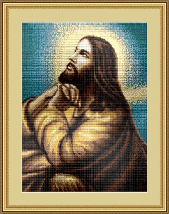 Petit Point Kit Jesus at Prayer, COUNTED Half Cross Stitch Kit Luca-s G306