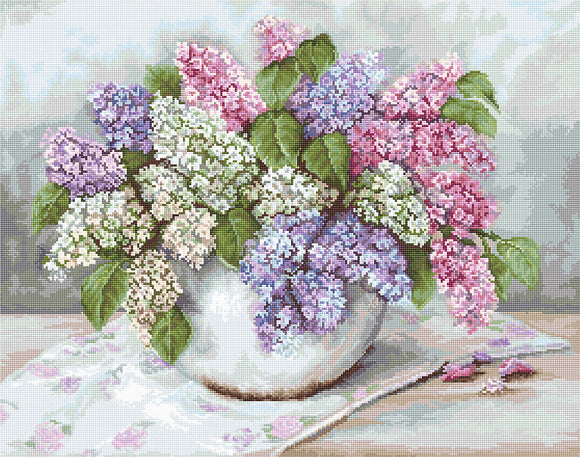 Petit Point Kit Lilacs, COUNTED Half Cross Stitch Kit Luca-s G570
