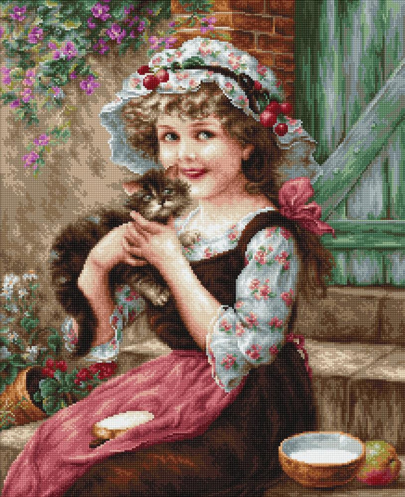 Cross Stitch Kit The Little Kitten, Counted Cross Stitch Kit Luca-s B538