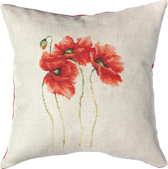 Four Poppies Cushion, Counted Cross Stitch Kit Luca-s PB122