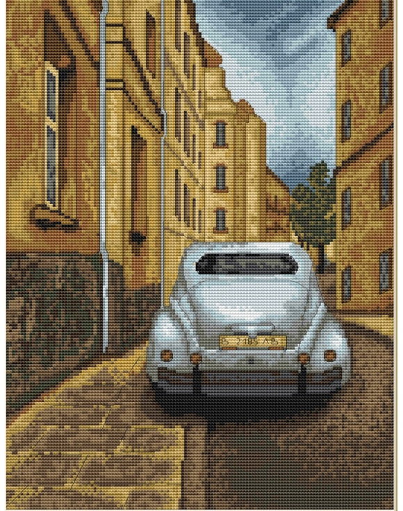 Cross Stitch Kit Retro Car, Counted Cross Stitch Luca-s B238