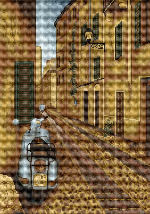 Cross Stitch Kit Retro Scooter, Counted Cross Stitch Luca-s B239