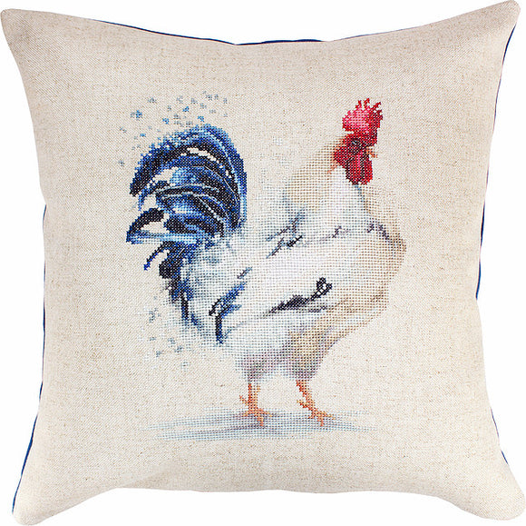 Cross Stitch Kit Rooster Cushion, Counted Cross Stitch Kit Luca-s PB146