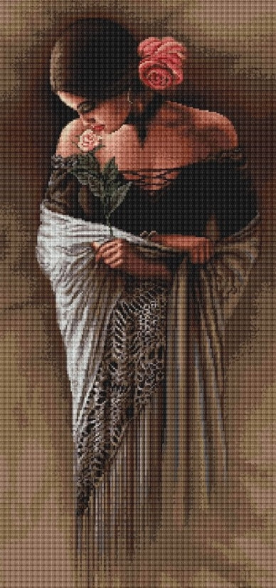 Spanish Lady Rose, Counted Cross Stitch Kit Luca-s B469