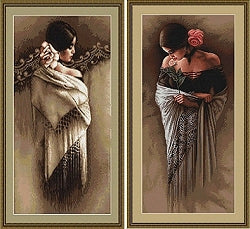 Spanish Ladies, Counted Cross Stitch Kits -PAIR  Luca-s B468/9