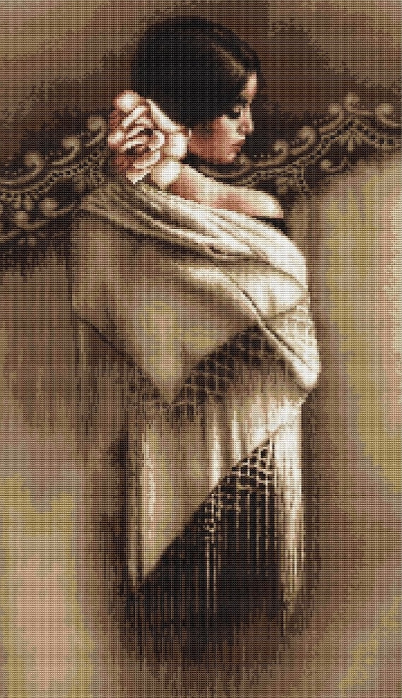 Spanish Lady Shawl, Counted Cross Stitch Kit Luca-s B468