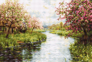 Cross Stitch Kit Spring Landscape, Counted Cross Stitch Luca-s B545