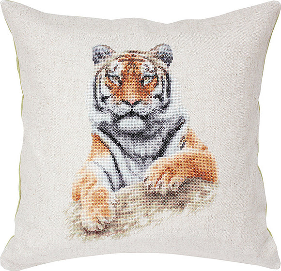Cross Stitch Kit Tiger Cushion, Counted Cross Stitch Kit Luca-s PB131