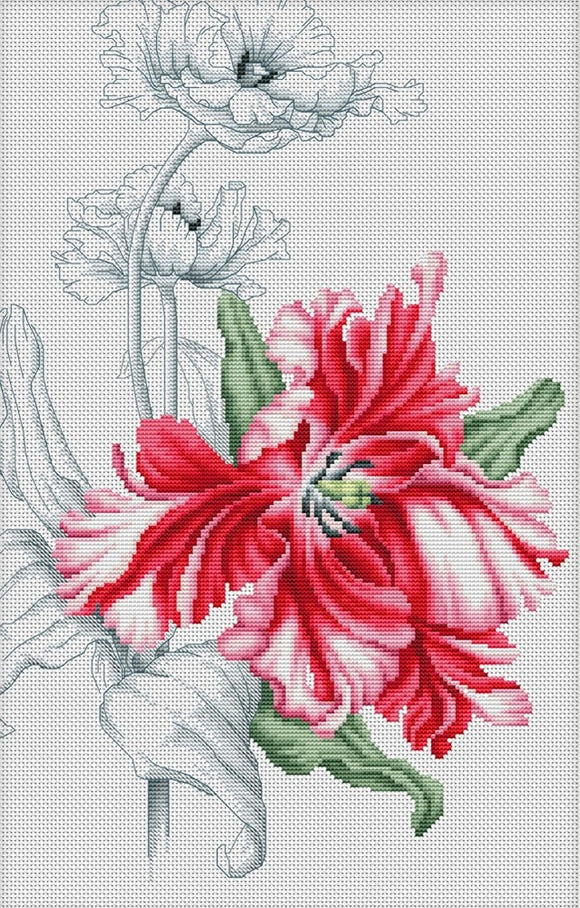 Cross Stitch Kit Red Tulips, Counted Cross Stitch Kit Luca-s B2241