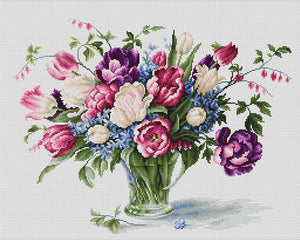 Cross Stitch Kit Tulip Vase, Counted Cross Stitch Kit Luca-s B2261