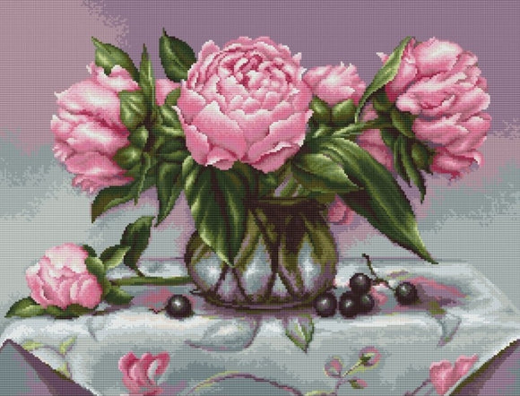 Petit Point Kit Vase of Peonies, COUNTED Half Cross Stitch Kit Luca-s G494