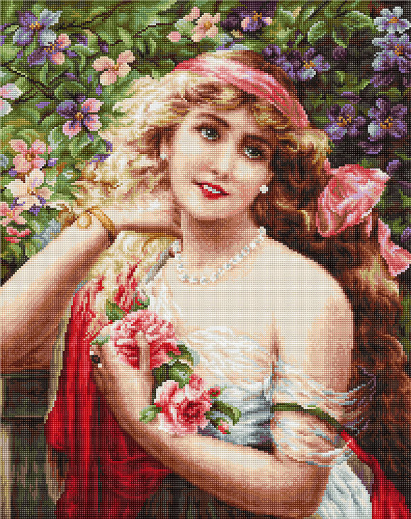 Young Lady with Roses, Counted Cross Stitch Kit Luca-s B549