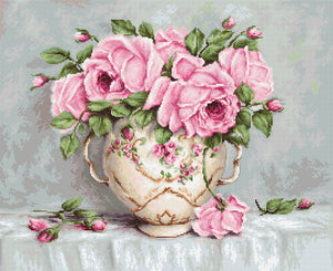 Pink Roses, Counted Cross Stitch Kit Luca-s B2319