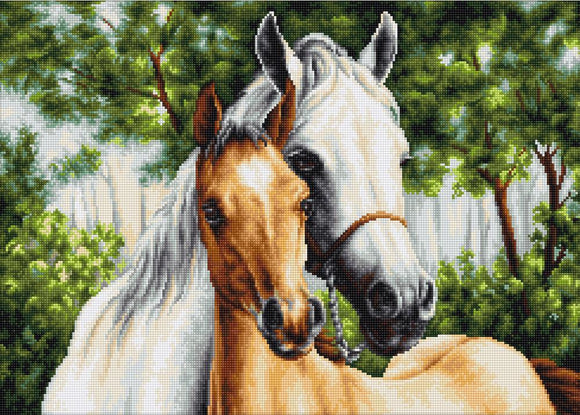 Petit Point Kit Mare and Foal, COUNTED Half Cross Stitch Kit Luca-s G521