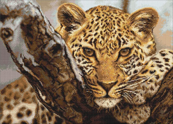 Petit Point Kit Leopard, COUNTED Half Cross Stitch Kit Luca-s G525
