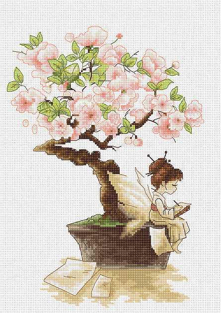 Sakura, Geisha Fairy Bonsai Counted Cross Stitch Kit, Luca-s B1114