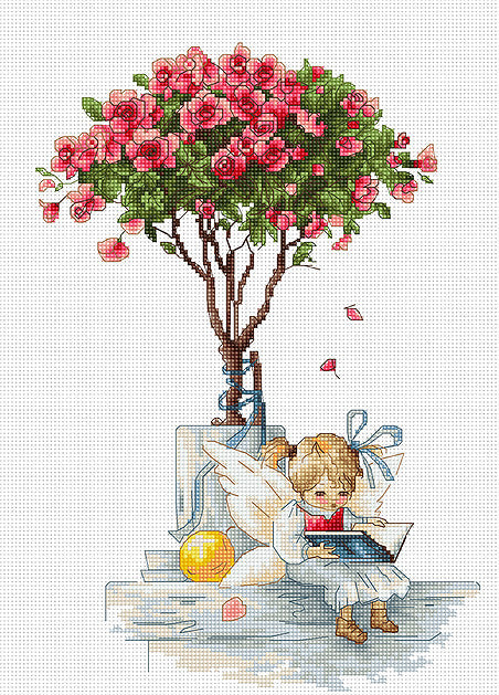 Topiary Rose Fairy Counted Cross Stitch Kit Luca-s B1115