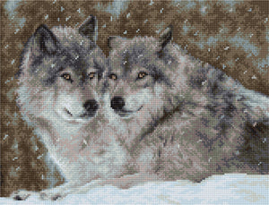 Cross Stitch Kit Two Wolves, Counted Cross Stitch Kit Luca-s B2291
