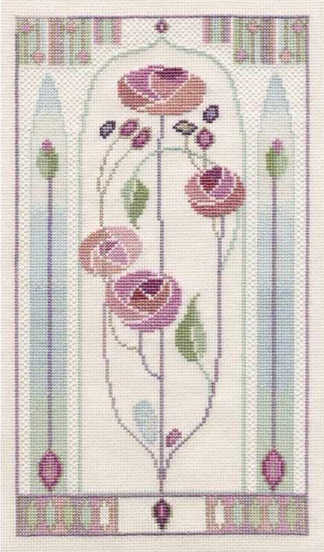 Mackintosh Oriental Rose, Counted Cross Stitch Kit Derwentwater MKP5