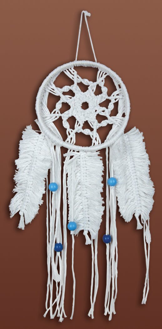 Macrame Kit, Wall Hanging Cotton Knot Kit Feathered Dreamcatcher 16