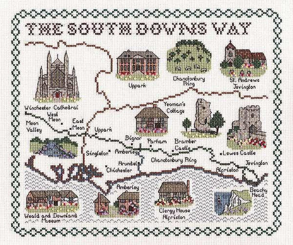 Map of SUSSEX, SOUTH DOWNS WAY Cross Stitch Kit, Classic Embroidery SA138