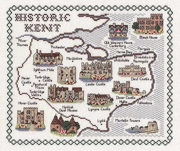 Map of KENT Cross Stitch Kit, Classic Embroidery SA153