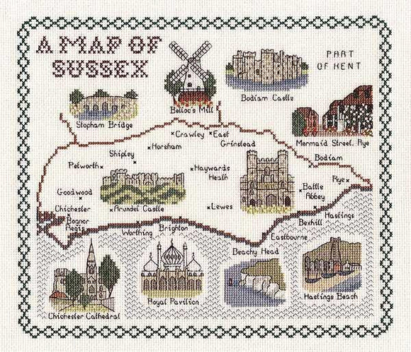Map of SUSSEX Cross Stitch Kit, Classic Embroidery SA080
