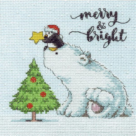 Merry and Bright Bear Cross Stitch Kit, Dimensions D70-08990