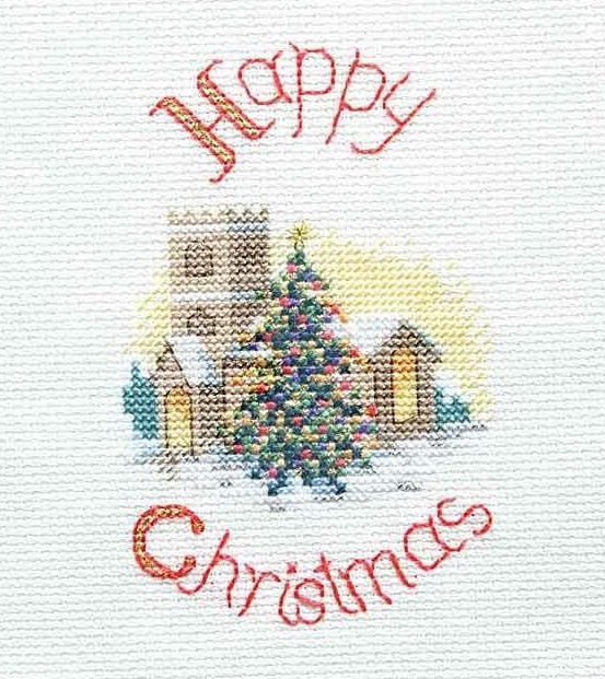 Midnight Mass Cross Stitch Christmas Card Kit, Derwentwater Designs