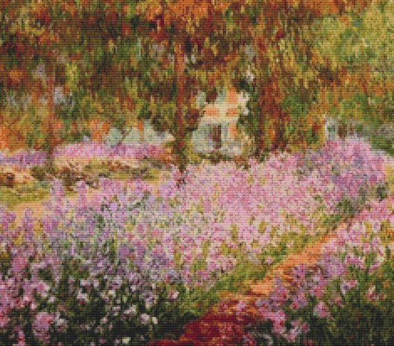 Monet, Irises in the Garden, Claude Monet Fine Art Cross Stitch FS