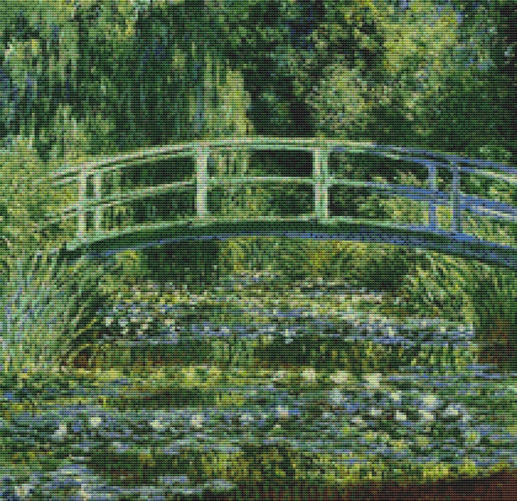 Monet, Japanese Bridge, Claude Monet Fine Art Cross Stitch FS