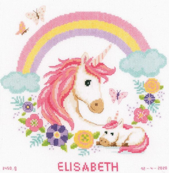 Mother and Baby Unicorn Cross Stitch Kit, Vervaco PN-0187458